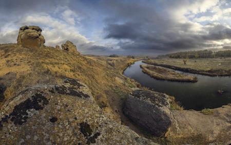 yellowautumn: Autumn river Kalmius located in Donetsk region