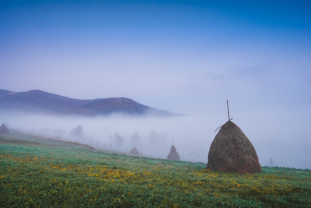 haystacks: Early morning in a misty mountain valley with haystacks