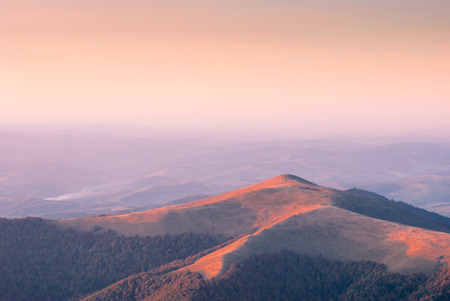 colores calidos: Evening in a Carpathian mountain valley. Warm colors