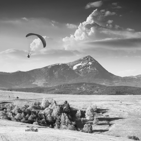 paraglide: Paraglide silhouette flying over Carpathian spring mountain valley. Majestic landscape with beautiful clouds over the high mountains. Monochrome