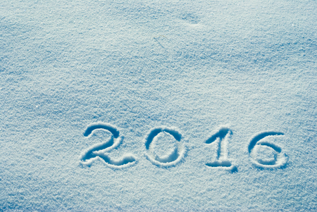 snowbanks: Christmass and New Year background. 2016 written on a snow Stock Photo