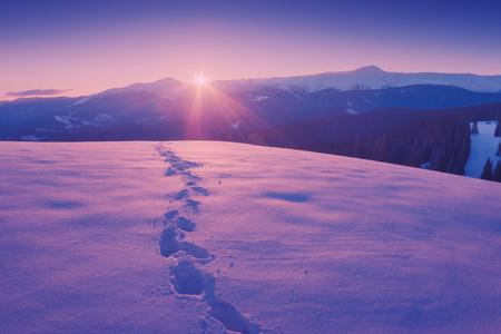 신선한 눈에 트랙과대로 산 계곡에 아름 다운 겨울 석양입니다. 장엄한 풍경. 우크라이나, 유럽입니다. 빈티지 색상