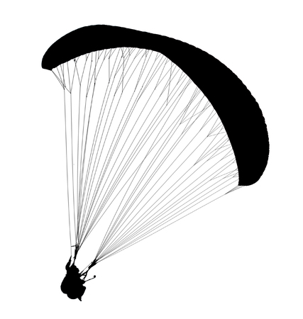 paraglide: Silhouette of paraglide isolated on white background