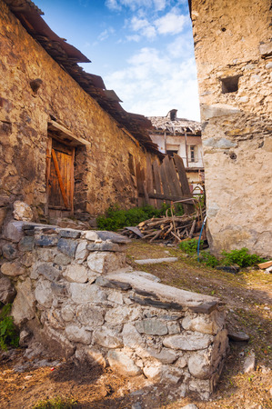 swanetia: Old stone street on Svaneti. Mestia town, Georgia. Stock Photo