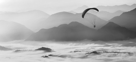 paraglide: Paraglide silhouette flying over the misty mountain valley in a light of sunrise. Monochrome colors.