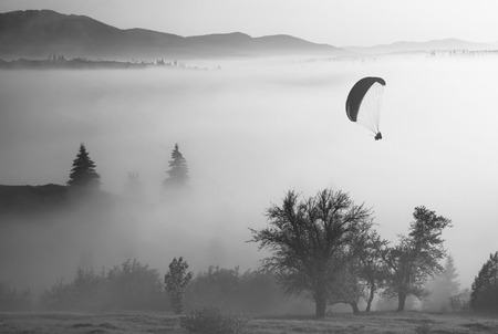 paraglide: Paraglide silhouette in a light of sunrise flying above the misty carpathian valley. Monochrome colors.