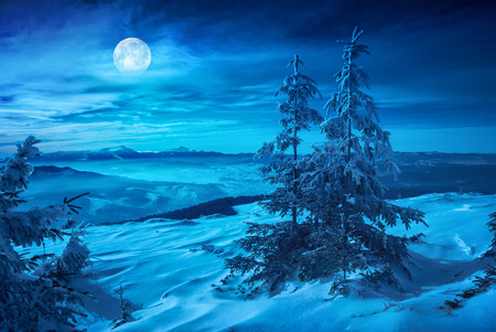 Rising of the full moon above the winter mountain valley covered with fresh snow. Night landscape. Imagens