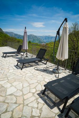 Lounge hotel in a Boka Kotor mountains. Montenegro, Europe.
