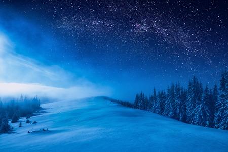 Bosque en una cresta de montaña cubierta de nieve. Vía Láctea en un cielo estrellado. Navidad noche de invierno. Foto de archivo - 88451633