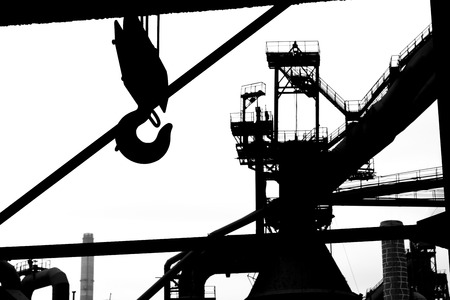 Silhouette of steel grid structure on a metallurgical enterprise. Stock Photo