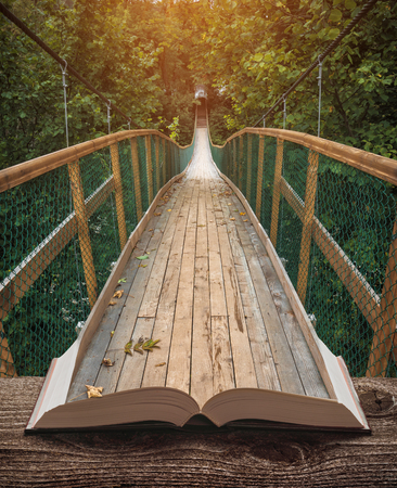 Way by the suspension bridge in a misty forest on the pages of an open magical book. Majestic landscape. Nature and education concept.