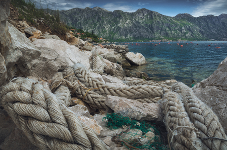 Old ship rope on a adriatic sea coast. Montenegro, Kotor. 版權商用圖片