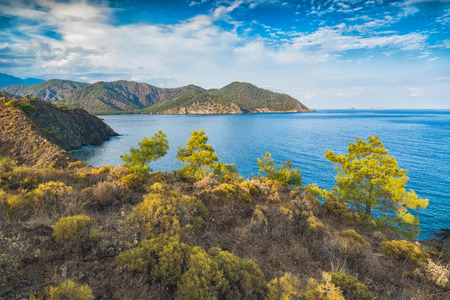 Wild nature of turkish mediterranean sea coast from above. Kemer, Antalya, Turkey, Lycian way.