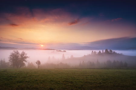 Majestic spring scene of sunrise in a alpine valley. Picturesque morning. Location place Carpathian, Ukraine, Europe. 版權商用圖片