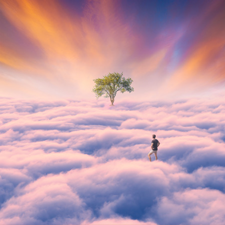 Man over the pink clouds with lonely tree on a horizon under majestic sky. Surreal conceptual landscape. Banque d'images - 121116462