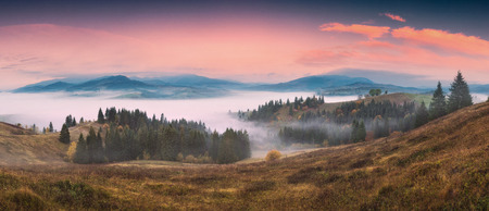 Pnoramic countryside view of alpine carpathian village covered with blue fog. Grassy hills and meadows illuminated by morning sunlight. Wonderful nature scenery of Carpathians. Banque d'images - 121116517