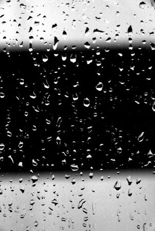 Water drops on black and white background Drops of water in the bathroom. Stock Photo