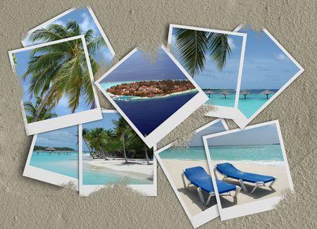 travel collage: Maldives photo collage  Stock Photo