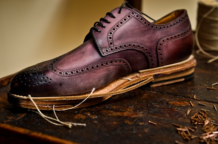 the sole of the shoe: italian shoes building Stock Photo