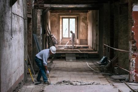 Worker during renovation building