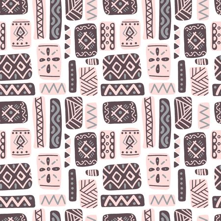 Seamless folk art pattern in Scandinavian style. Nordic ornament background with runes and decorative elements. Folklore vector illustration. Perfect for wrapping paper, wallpaper, textile design