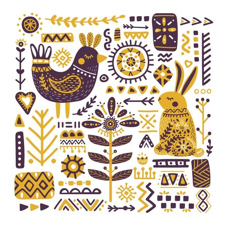 Cute animals with ornate decorative ethnic elements . Hand drawn vector illustration of a bird, hare in Scandinavian style. Perfect for print, postcard, greeting card, T-shirt and textile design