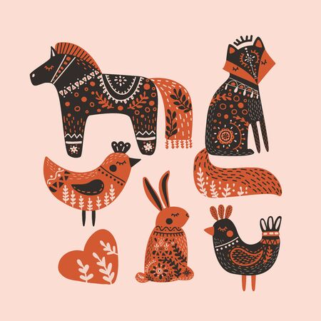 Cute folk art animals in flat style. Hand drawn vector illustration in Scandinavian style with fox, hare, horse and birds. Perfect for print, postcard, greeting card, T-shirt and textile design