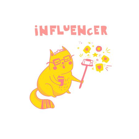 Social media influencer, key opinion leader. Kawaii cat blogger taking selfie and live streaming to the followers while telling stories. Cute doodle vector illustration in hand drawn flat style
