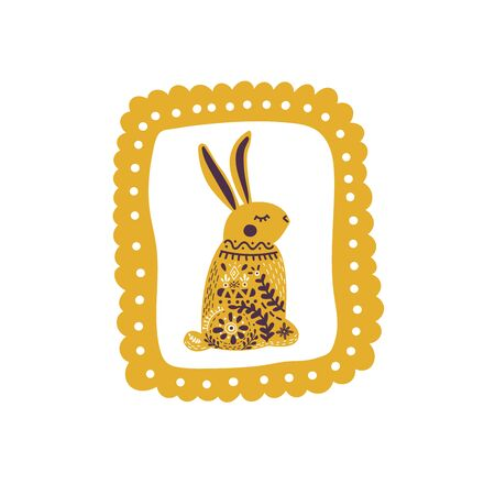 Cute folk art hare on white background in the decorative frame. Hand drawn vector illustration in Scandinavian, Nordic style. Perfect for print, postcard, greeting card, T-shirt and textile design