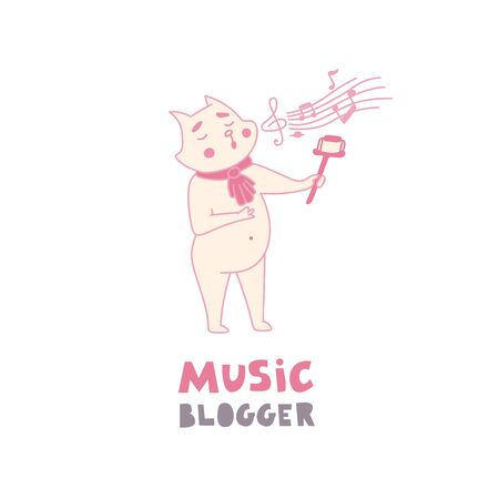 Social media influencer, key opinion leader. Cat music blogger taking selfie and live streaming to the followers while singing. Cute doodle vector illustration in hand drawn flat style
