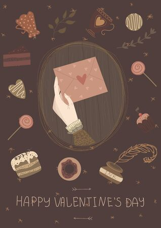 Happy Valentines Day card. A girl holds loveletter. Cute vector illustration, poster, banner, flyer. Background with floral and stars pattern, cake, cookies, candy, lollypop, sweet, donut, vintage cup Иллюстрация