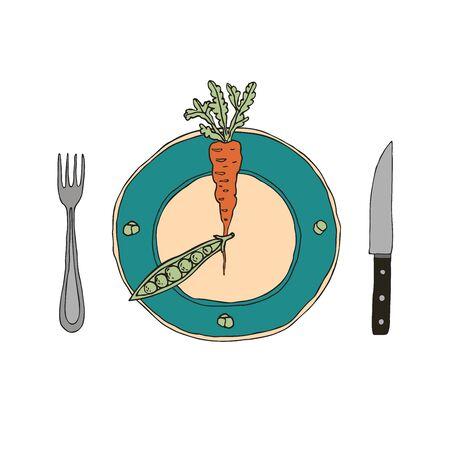 Intermittierendes Fasten-Konzept. Zeittafel unterteilt in Sektoren nach 16 8 Schema. Gemüse mit Gabel und Messer. Moderner Ansatz für die Langlebigkeit der Gesundheit, Gewichtsverlust. Handgezeichnete Vektorillustration