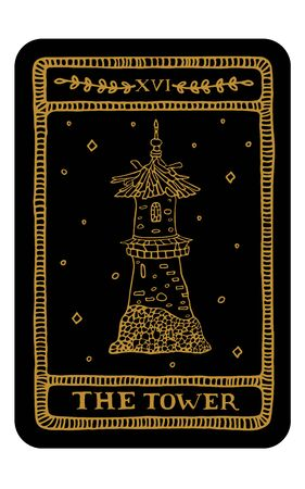 The Tower. Hand drawn major arcana tarot card template. Tarot vector illustration in vintage style with mystic symbols, crystals and line art stars. Witchcraft concept for tarot readers