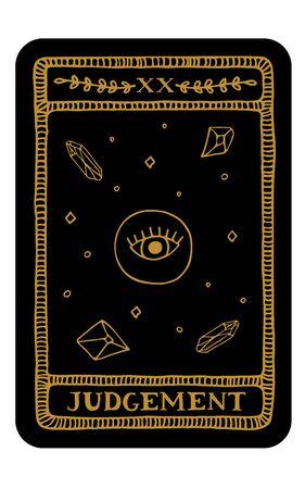Beurteilung. Handgezeichnete große Arkana-Tarot-Kartenvorlage. Tarot-Vektor-Illustration im Vintage-Stil mit mystischen Symbolen, Kristallen und Strichzeichnungen. Hexerei-Konzept für Tarot-Leser