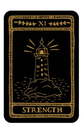 Strength. Hand drawn major arcana tarot card template. Tarot vector illustration in vintage style with mystic symbols, lighthouse and line art. Witchcraft concept for tarot readers Vektorové ilustrace