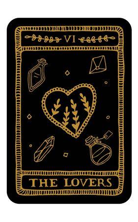 Gli amanti. Modello di carta dei Tarocchi Arcani maggiori disegnato a mano. Illustrazione vettoriale di tarocchi in stile vintage con simboli mistici, cristalli e stelle di arte di linea. Concetto di stregoneria per lettori di tarocchi Vettoriali