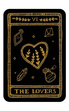 Los amantes. Dibujado a mano plantilla de tarjeta de tarot de arcanos mayores. Ilustración de vector de tarot en estilo vintage con símbolos místicos, cristales y estrellas de arte lineal. Concepto de brujería para lectores de tarot Ilustración de vector