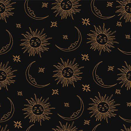 Wiccan wzór z magicznymi symbolami: słońce i księżyc. Ilustracja wektorowa czarów w stylu wyciągnąć rękę. Idealny do tekstyliów, sklepów magicznych, wróżek, czytników tarota