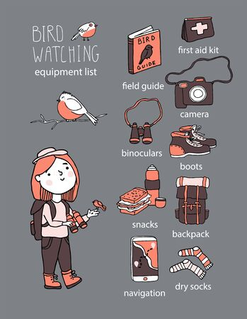 Birdwatching and ornithology concept. Young girl bird watching with binoculars and feeding a bird. Vector illustration with birdwatcher equipment. Guide, camera, backpack, snack, boots, first aid kit Ilustração