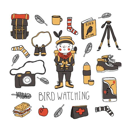 Birdwatching and ornithology concept. Young boy bird watching with binoculars. Vector illustration with birdwatcher equipment. Guide, camera, backpack, boots, first aid kit. Child watching the birds
