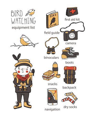 Birdwatching and ornithology concept. Young boy bird watching with binoculars. Vector illustration with birdwatcher equipment checklist. Guide, camera, backpack, first aid kit. Child watching birds