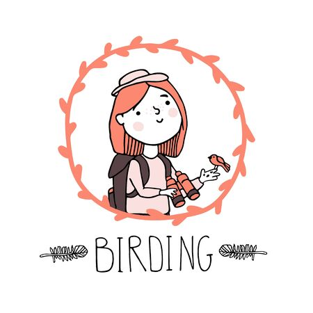 Birdwatching and ornithology concept. Young girl bird watching with binoculars and feeding a bird. Vector illustration with woman birdwatcher in floral frame and hand drawn lettering in sketch style