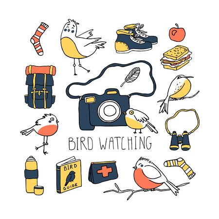 Birdwatching and ornithology concept. Bird watching icons, elements. Vector illustration with birdwatcher equipment and cute birds. Guide, camera, backpack, snack, boots, first aid kit, bird binocular