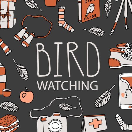 Birdwatching and ornithology concept. Young girl bird watching with binoculars and feeding a bird. Vector illustration with birdwatcher equipment. Guide, camera, backpack, snack, boots, first aid kit 向量圖像
