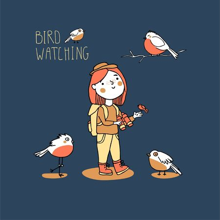 Birding and ornithology concept. Woman birdwatching. Young girl bird watching with binoculars and feeds a bird. Cute cartoon birds vector illustration in doodle style