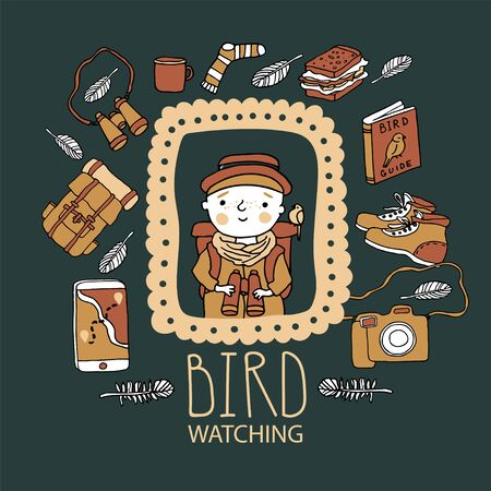 Birdwatching and ornithology concept. Young girl bird watching with binoculars and feeding a bird. Vector illustration with birdwatcher equipment. Guide, camera, backpack, snack, boots, first aid kit