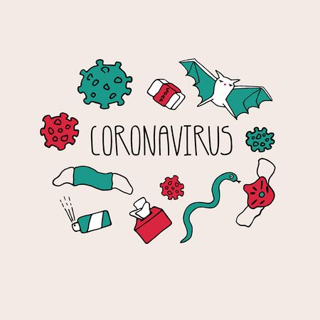 coronavirus inscription. Novel coronavirus 2019-nCoV, virus concept with molecule, bat, face mask, hand rub, snake, soap, tissue icons. Vector illustration in hand drawn style