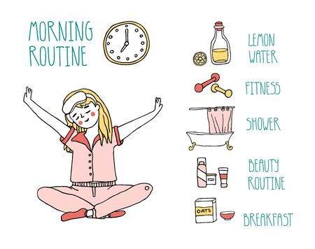 A young girl sitting in yoga pose after early wake up and planning morning routine including fitness, drinking lemon water, shower, breakfast, and beauty rituals. Hand drawn vector illustration 向量圖像