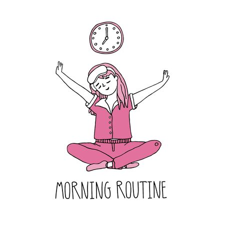 A young girl sitting in yoga pose after early wake up and going to do her morning routine. Woman self care concept. Vector illustration in a hand drawn doodle style