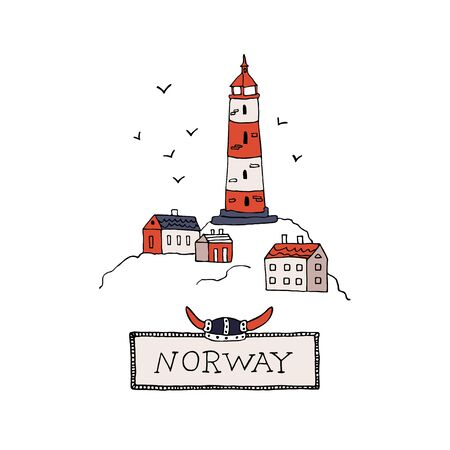 Traditional Scandinavian lighthouse. Vintage Norway inscription in a frame with viking helmet. Travel Norway vector illustration. Hand drawn Nordic elements set in doodle style